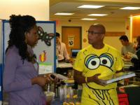 NYU Langone's HJD's Angela has a word with Alex of Sesame Workshop